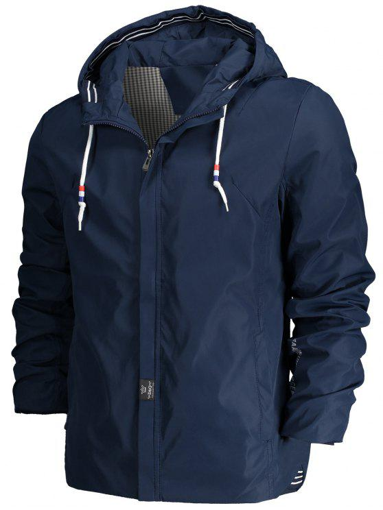 womens Drawstring Hood Zippered Jacket - BLUE 2XL
