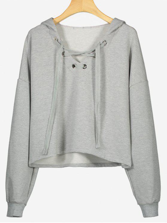 30% OFF  2019 Drop Shoulder Plain Lace Up Hoodie In GRAY S  f0f02e140