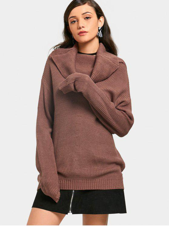 Ribbed Cowl Neck Sweater BROWN: Sweaters ONE SIZE | ZAFUL