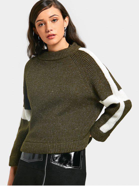 fancy Two Tone Chunky Sweater - ARMY GREEN ONE SIZE