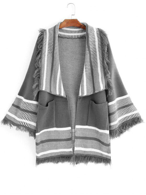 unique Stripes Panel Fringed Open Front Cardigan - GRAY ONE SIZE