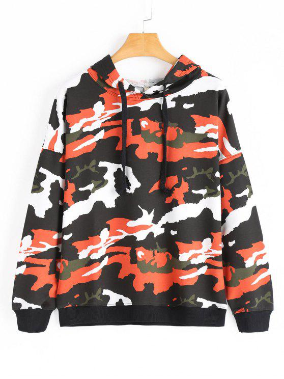 fashion Drop Shoulder Camouflage Drawstring Hoodie - ORANGE L
