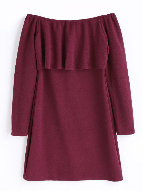 fbccd35810f 2019 Ruffle Long Sleeve Off The Shoulder Dress In WINE RED XL