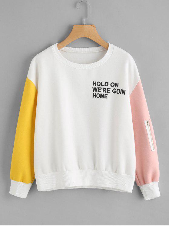 ladies Letter Graphic Contrast Sweatshirt - WHITE S