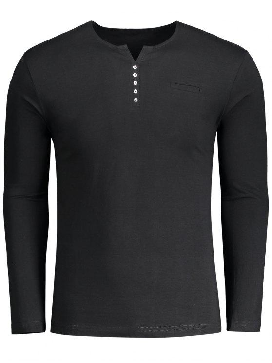 fancy Button Embellished Polo Tee - BLACK XL