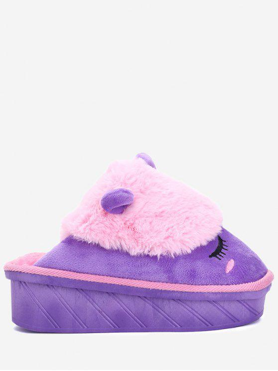 lady Color Block Emoji Indoor Slippers - PINKISH PURPLE SIZE(35-36)