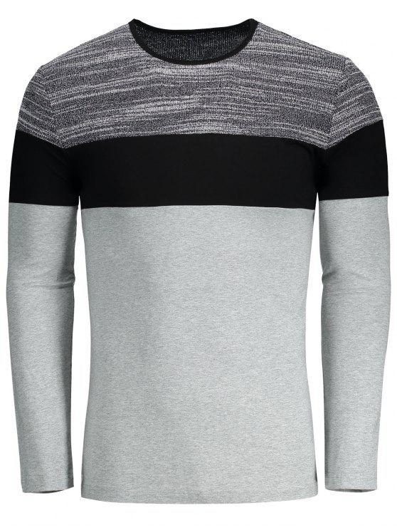 best Color Block Slim Fit T-shirt - GRAY 2XL