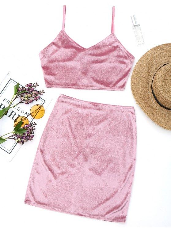 affordable Velvet Bralette Top and Mini Side Zip Skirt - PINKISH PURPLE S