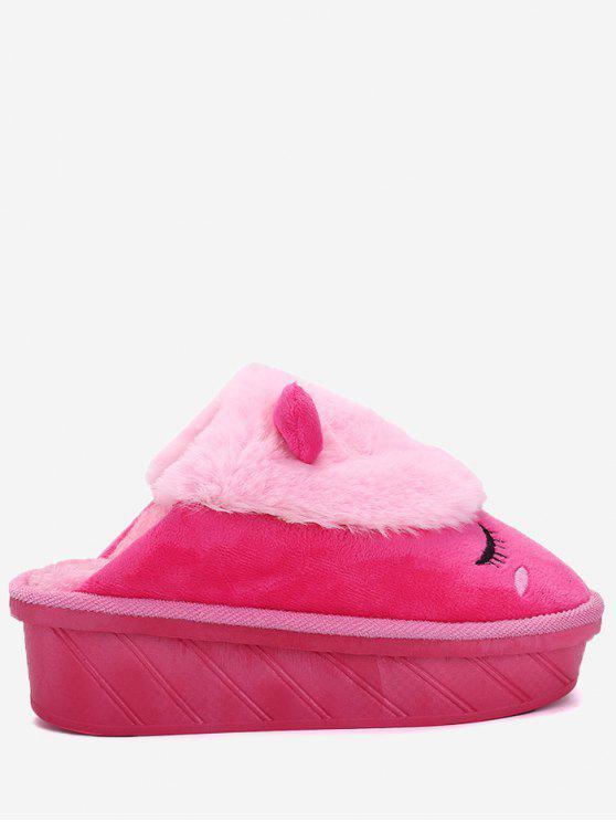 buy Color Block Emoji Indoor Slippers - ROSE RED SIZE(37-38)