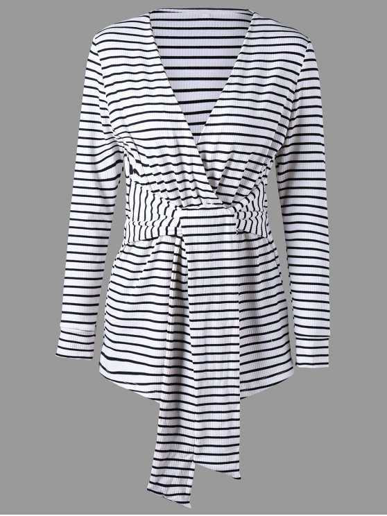 trendy Long Sleeve Striped Romper - WHITE AND BLACK L