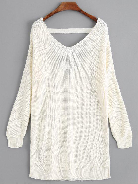 unique V Neck Drop Shoulder Longline Sweater - OFF-WHITE ONE SIZE