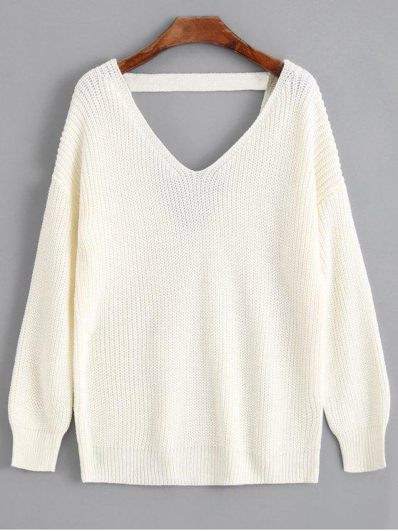 026fefc8692cc8 29% OFF] 2019 V Shaped Back V Neck Sweater In OFF-WHITE | ZAFUL