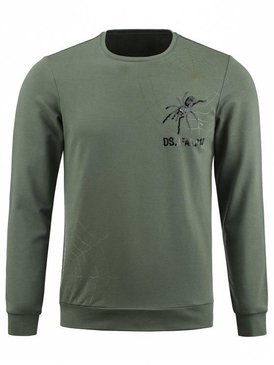 shop Crew Neck Spider Graphic Sequinned Pullover Sweatshirt - ARMY GREEN 2XL