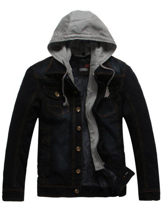 best Faux Fur Lining Zip Hooded Denim Jacket - BLACK 3XL