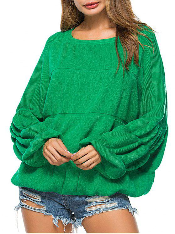 fancy Puff Sleeve Crew Neck Sweater - GREEN ONE SIZE