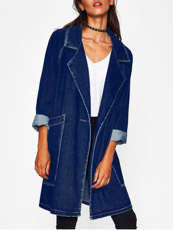 shop Raglan Sleeve Pockets Long Denim Jacket - DEEP BLUE ONE SIZE