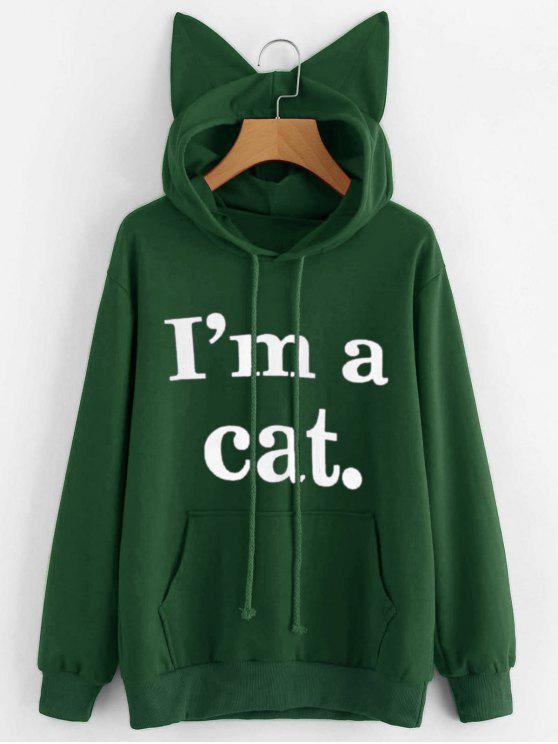 ladies Front Pocket Letter Graphic Cat Hoodie - GREEN XS