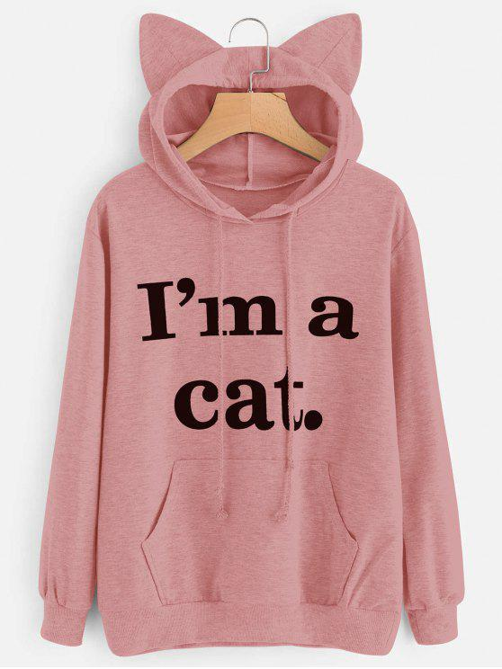 outfits Front Pocket Letter Graphic Cat Hoodie - PINK XS