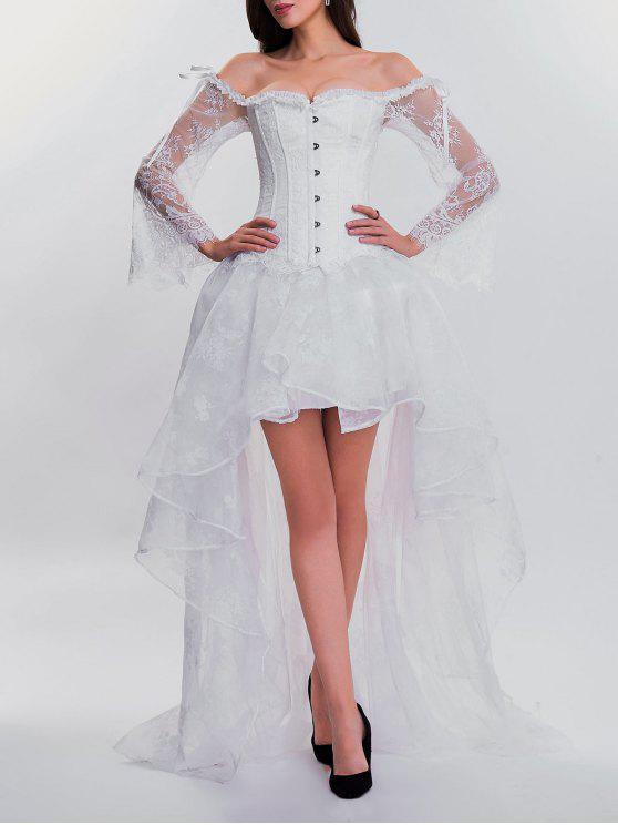 فستان من قطعتين بنمط كروسيت ذو حافة متباينة الطول - أبيض 2XL