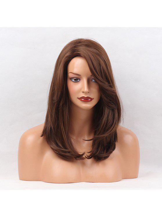 للنساء شعر مستعار مستقيم طبيعي صناعي الجزء الصناعي متوسط - BROWN