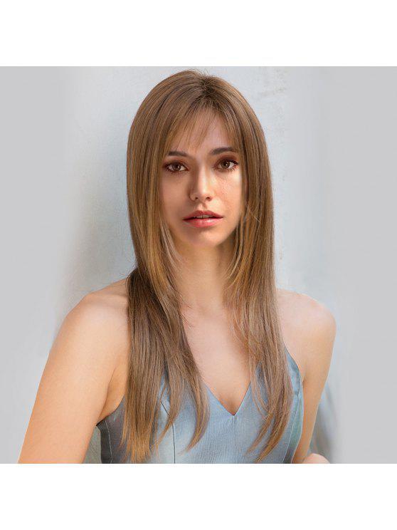 الجانب الطويل شعر مستعار بانغ الطبقات مستقيم الباروكة الاصطناعية - مزيج ملون