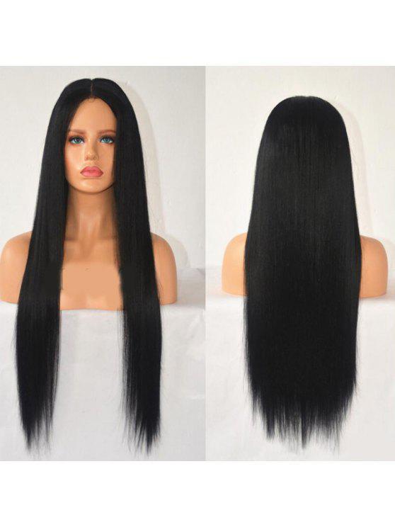 للنساء شعر مستعار طويل مستقيم مقاومة للحرارة جزء مركزي - أسود