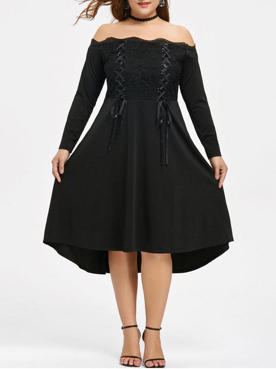 فستان الحجم الكبير دانتيل تريم رباط - أسود 5XL