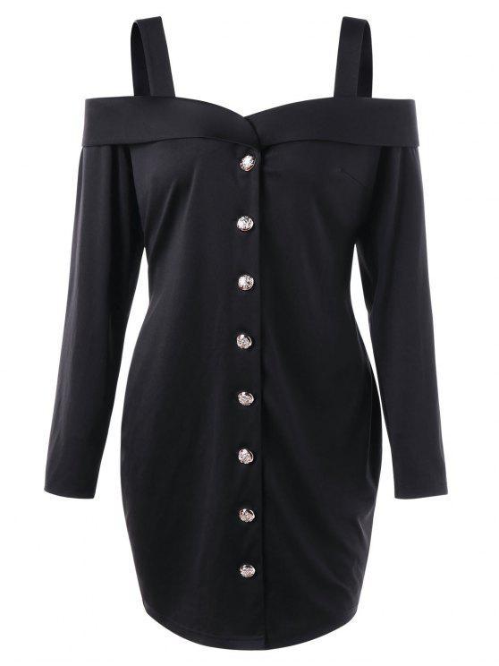 فستان مكشوف الكتفين بأزرار ذو مقاس كبير - أسود 5XL