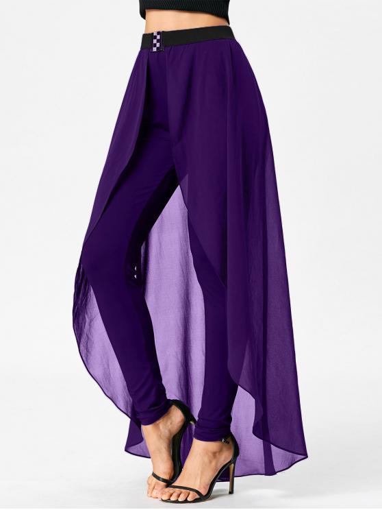 Pantalon Slim à Taille Haute avec Jupe - Pourpre  2XL