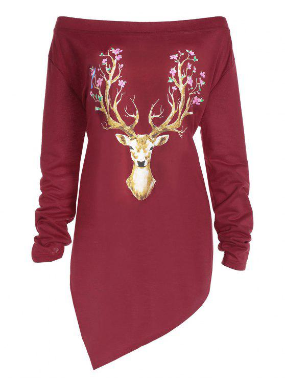 shops Plus Size Christmas Elk Print Asymmetrical Tee - RED 2XL