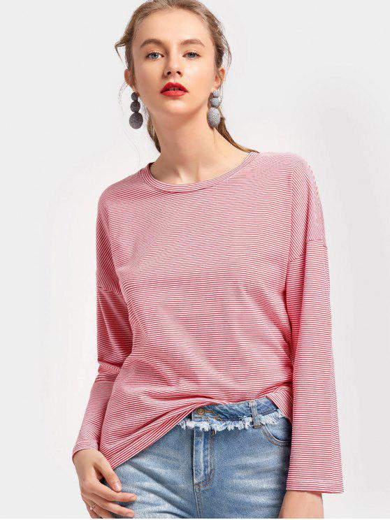 T-shirt rayé à manches longues et épaules dénudées - Rouge XL