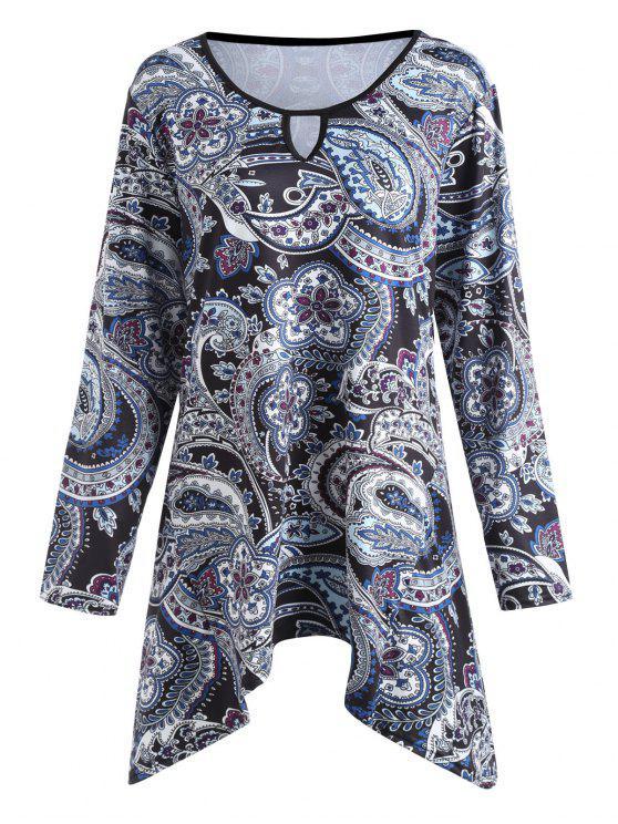 Plus Size Paisley Bedrucktes asymmetrisches Swing T-Shirt - Blumen 5XL