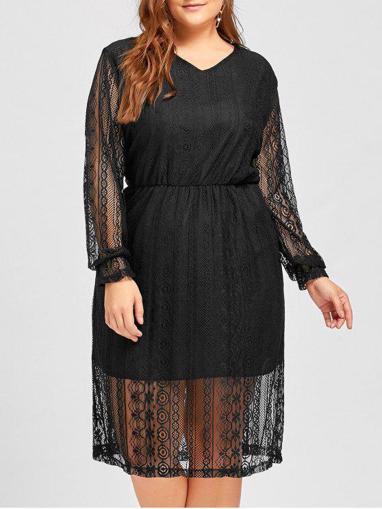 Plus Size Elastic Waist Long Sleeve Lace Dress BLACK WHITE