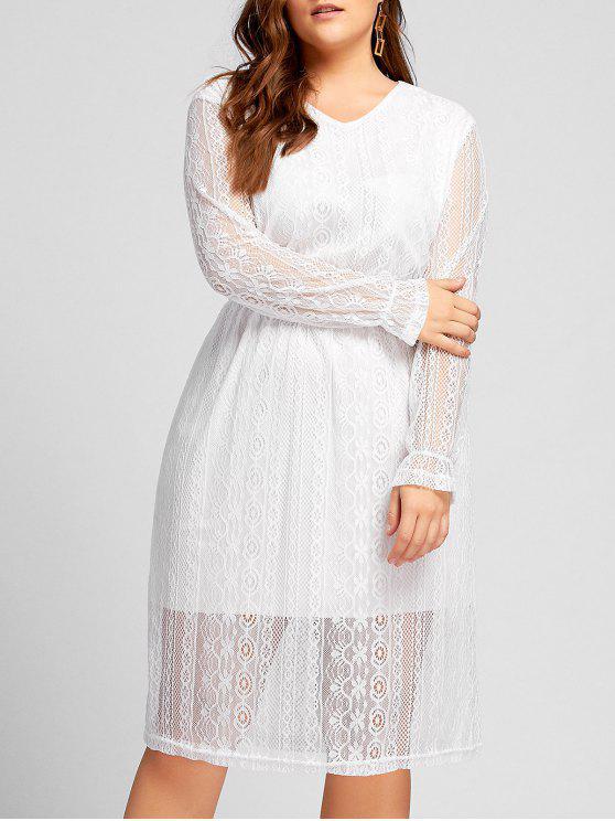 Plus Size Elastic Waist Long Sleeve Lace Dress White Plus Size