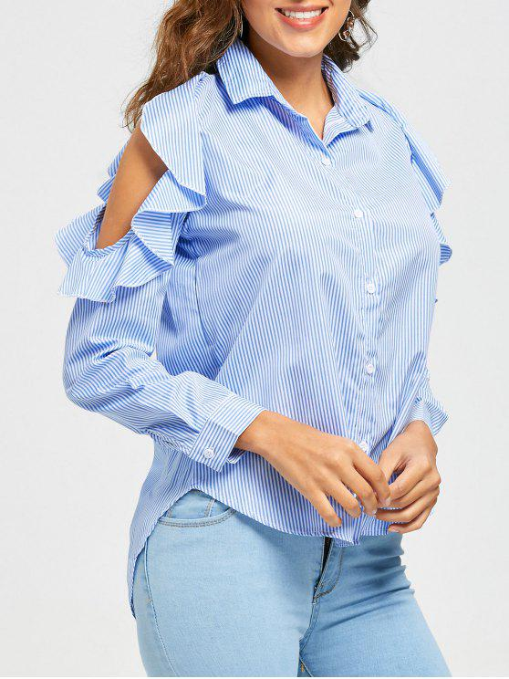 lady High Low Striped Ruffle Cold Shoulder Shirt - LIGHT BLUE L