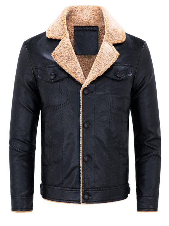 fancy Biker Jacket with Faux Fur Collar - BLACK 3XL