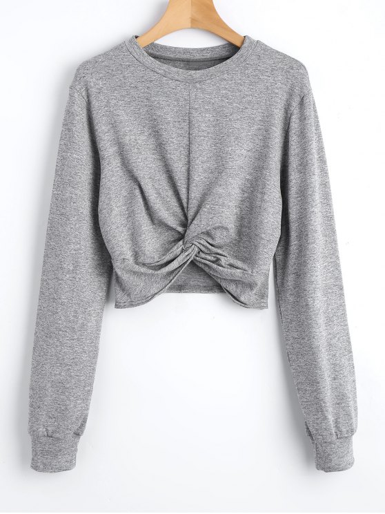 outfits Heathered Cropped Twist Sweatshirt - GRAY L