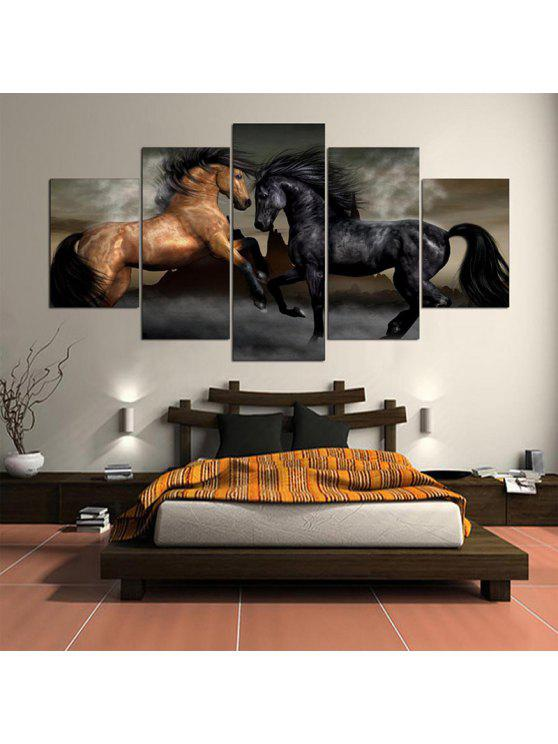 Horses Printed Wall Art Unframed Canvas Paintings BLACK AND BROWN ...