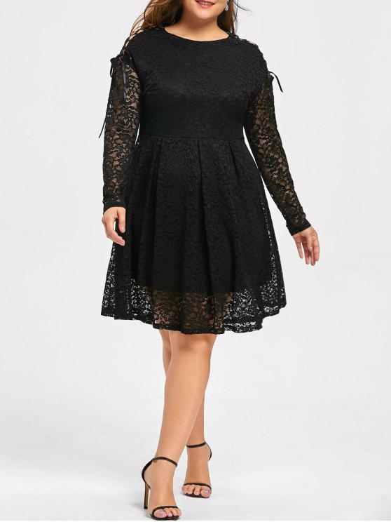 Plus Size Drop Shoulder Long Sleeve Lace Dress BLACK: Plus Size ...