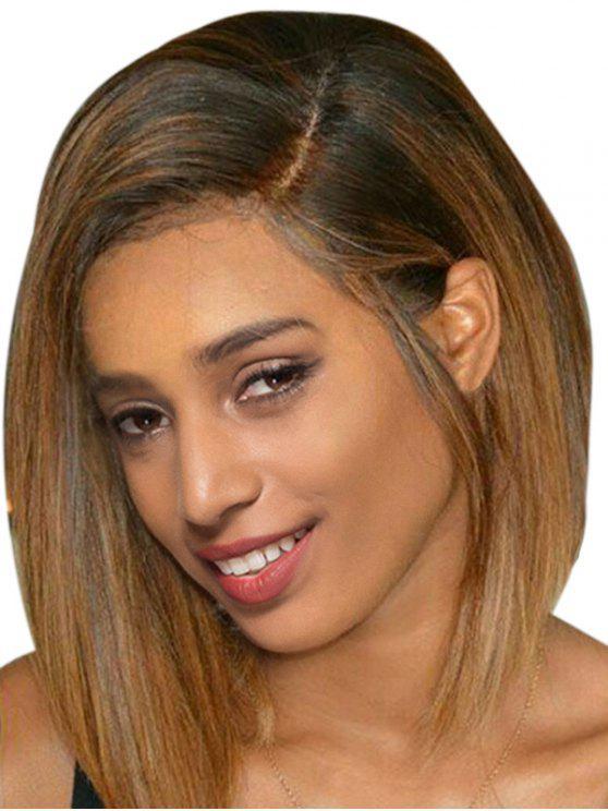 للنساء شعر مستعار نمط بوب قصير جزء جانبي مستقيم - Colormix 12 إنش