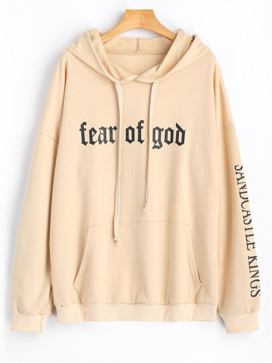 ladies Drawstring Letter Logo Oversized Hoodie - APRICOT S