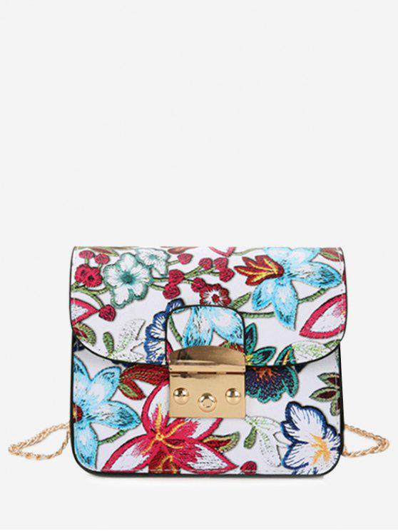 Mini Bolsa Floral com Corrente Comprida - Branco