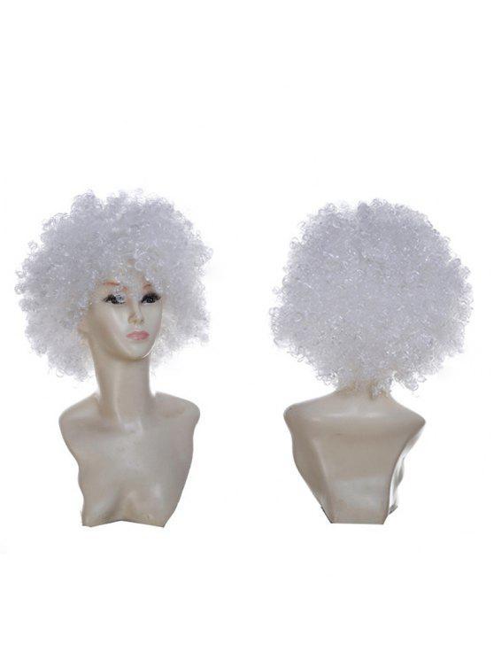 للنساء شعر مستعار مجعد قصير - أبيض