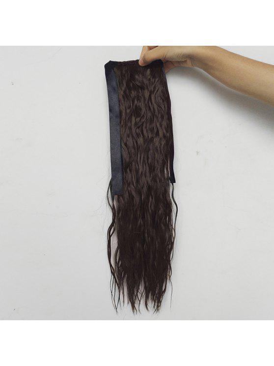 Extensión sintética del pelo de la cola de caballo de la onda media del agua - Marrón