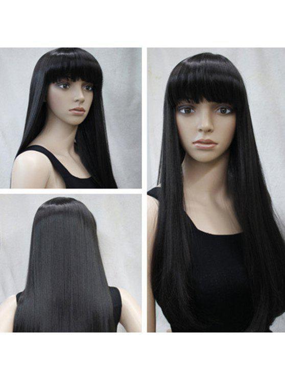 Long Neat Bang peluca sintética recta - Negro