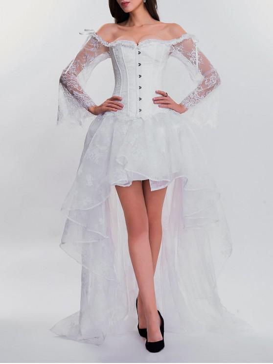 فستان من قطعتين بنمط كروسيت ذو حافة متباينة الطول - أبيض XL