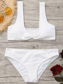 Scoop Ribbed Texture Knotted Bikini - White Xl