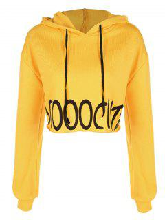 Letter Cropped Loose Hoodie - Yellow S