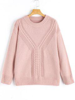 Cable-knit Crew Neck Sweater - Cameo