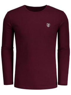 Long Sleeve Slim Fit Tee - Burgundy L